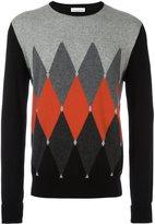 Ballantyne contrast diamond print jumper