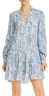 Parker Silk Floral Print Lace-Up Mini Dress