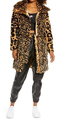 Jordan Court-to-Runway Animal Print Convertible Faux Fur Jacket