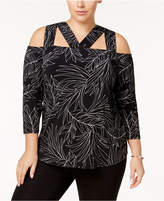 Alfani Plus Size Strappy Cold-Shoulder Top, Created for Macy's