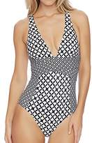 Athena Women's Baja Geo Alana Soft Cup Cross One Piece Swimsuit