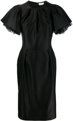 Alexander McQueen Puff Sleeves Fitted Dress