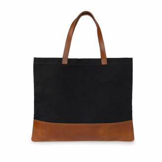 Vida Vida Canvas Leather Black Tan Tote Bag