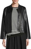 Vince Drop-Shoulder Leather Bomber Jacket, Black