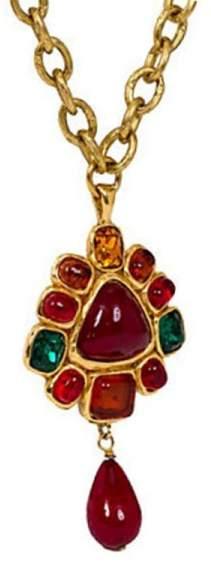 Chanel Gripoix Drop Pendant Necklace