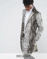 Reclaimed Vintage Overcoat In Animal Print