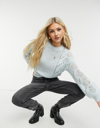 Pieces high neck knitted jumper in pastel blue