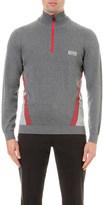 HUGO BOSS Zip-detail cotton-blend jumper