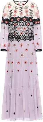 Temperley London Finale Bowtie Embroidered Georgette Midi Dress