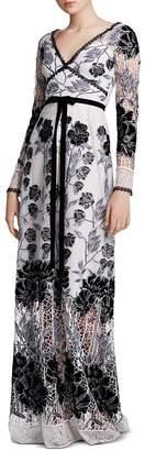 Marchesa Velvet-Detail Guipure Lace Gown