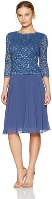 Alex Evenings Women's Petite Petite T-Length Lace Mock Dress