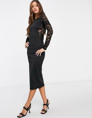 I SAW IT FIRST lace panel bodycon midi dress in black