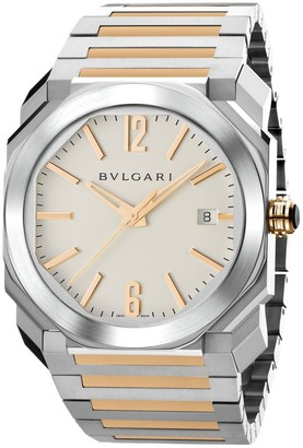 Bvlgari Octo Rose Gold & Stainless Steel Bracelet Watch
