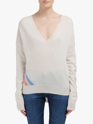 360 Sweater Estella V-Neck Long Sleeve Star Intarsia Cashmere Jumper, Grey Cantaloupe
