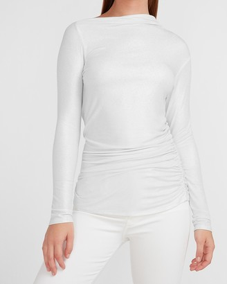 Express Asymmetrical Ruched Side Bateau Neck Tee