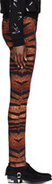 McQ by Alexander McQueen Orange Tiger & Tartan Print High-Waisted Pants
