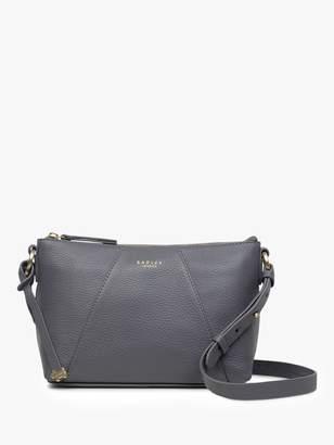 Radley Wood Street Medium Leather Zip Top Cross Body Bag, Charcoal