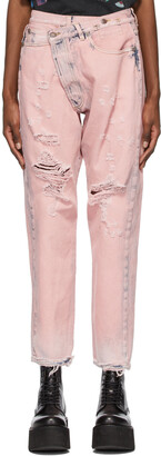 R13 Pink Crossover Jeans