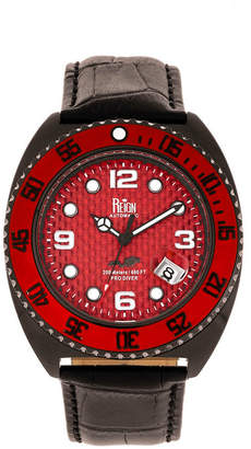 Reign Quentin Automatic Pro-Diver Black Case, Genuine Leather Watch 45mm