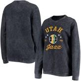 G Iii Women's G-III Sports by Carl Banks Navy Utah Jazz Slouchy Comfy Cord Crewneck Pullover Sweatshirt