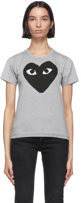 Comme des Garcons Grey and Black Big Heart T-Shirt