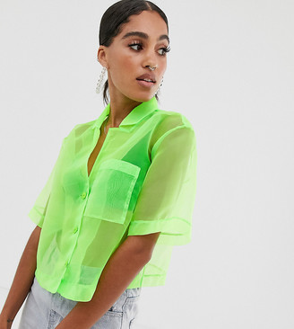Reclaimed Vintage inspired organza shirt in neon green