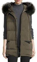 Derek Lam Fur-Trimmed Hooded Puffer Vest, Loden