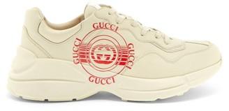 Gucci Rhyton Gg-disc Leather Trainers - Beige Multi