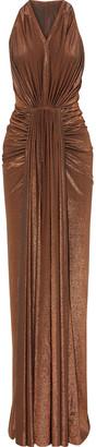 Rick Owens Lilies Draped Metallic Stretch-knit Gown