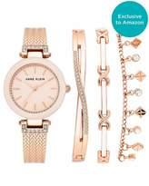 Anne Klein Women's Swarovski Crystal Accented Rose Gold-Tone Textured Bangle Watch and Bracelet Set AK/3394BHST