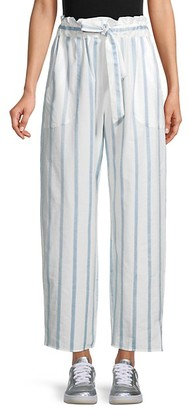 Milly Striped Cotton Paperbag Pants