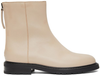 LEGRES Beige Leather Officer Boots