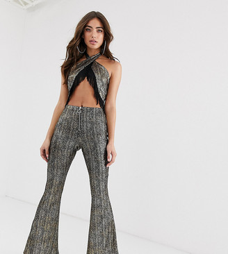 House Of Stars House of Stars metallic flare trousers with zip front co-ord-Black