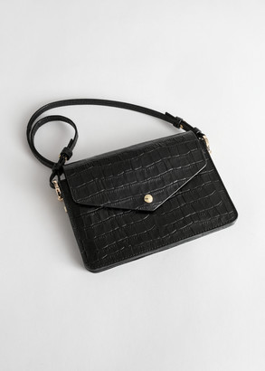 And other stories Snake Embossed Leather Envelope Bag