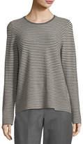 Eileen Fisher Long-Sleeve Striped Wool Tee