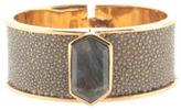 Kara Kara Ross Green Stingray Gold Tone Metal Seraphinite Bangle Bracelet