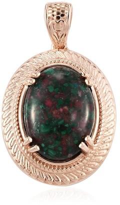 Shop LC 950 Platinum Rose Gold Over Malachite Pendant Necklace Ct 5.3