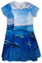 Urban Smalls Blue Dolphins Sublimated Swing Dress - Toddler & Girls