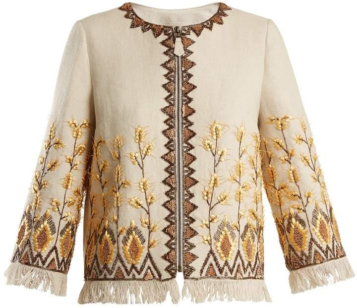 Andrew Gn Embroidered linen-blend jacket