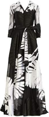 Carolina Herrera Jacquard Silk-Tulle Three-Quarter Sleeve A-Line Shirt Gown