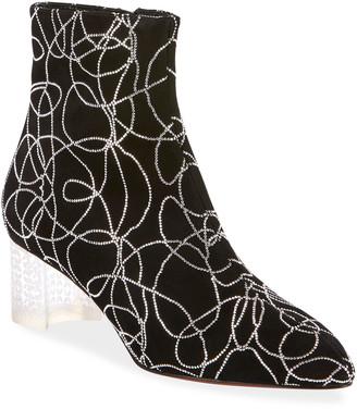 Alaia Suede Crystal Plexi-Heel Booties