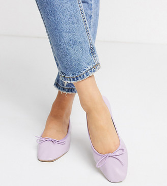 ASOS DESIGN Wide Fit Layer leather bow ballet flats in lilac