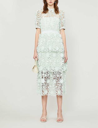 Self-Portrait Puffed-sleeves broderie anglaise midi dress