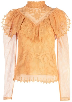 See by Chloe Lace Insert Mesh Blouse