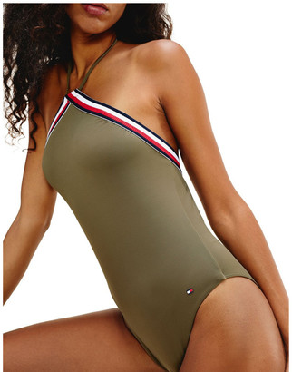 Tommy Hilfiger Signature Tape Halter Neck One-Piece Swimsuit