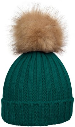 styleBREAKER Women's Classic Knit hat with Large Fur Bobble and Ribbed Pattern 04024009