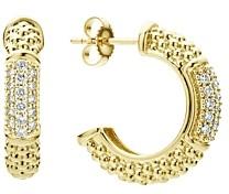 Lagos 18K Yellow Gold Caviar Gold Pave Diamond Hoop Earrings