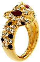 Kenneth Jay Lane Gold Panther Ring With Encrusted Crystals