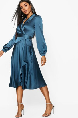 boohoo Satin Wrap Detail Midi Skater Dress