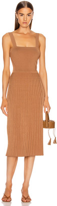 Cushnie Sleeveless Midi Fit and Flare Dress in Camel | FWRD